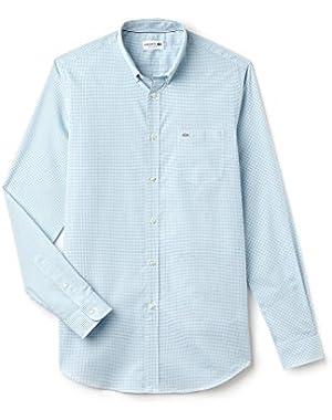 Men's Men's Light Blue Gingham Shirt in Size 40-M Light Blue