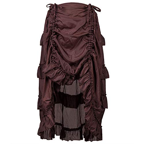 - Women's Vintage Steampunk Victorian Goth Party Skirt Ruffles Pirate Skirt Sashes Style Dress Fashion Christmas Print Gown Evening Dress (Khaki, L)