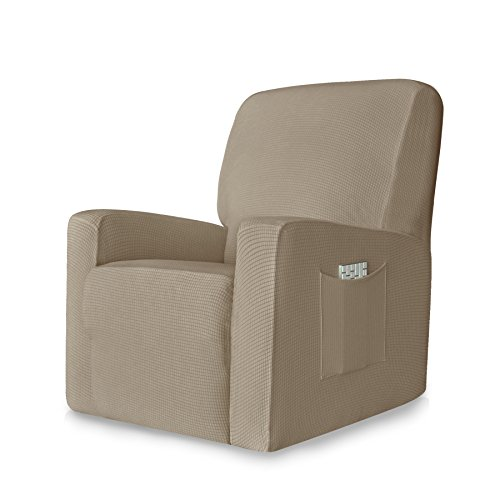 CHUN YI 1-Piece Stretch Spandex Jacquard Chair Slipcovers (Recliner, Sand)