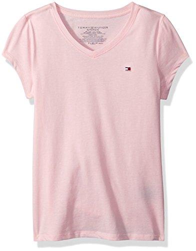 Tommy Hilfiger Big Girl's Solid V Neck Tee Shirt, light pink, X-Large
