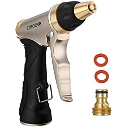 CRENOVA Garden Hose Nozzle Spray Nozzle - 6 Pattern Metal Watering Nozzle - High Pressure Hand Sprayer- Ideal Watering Your Garden, Lawn, Flower Beds Washing Your Car, Pets Ground.