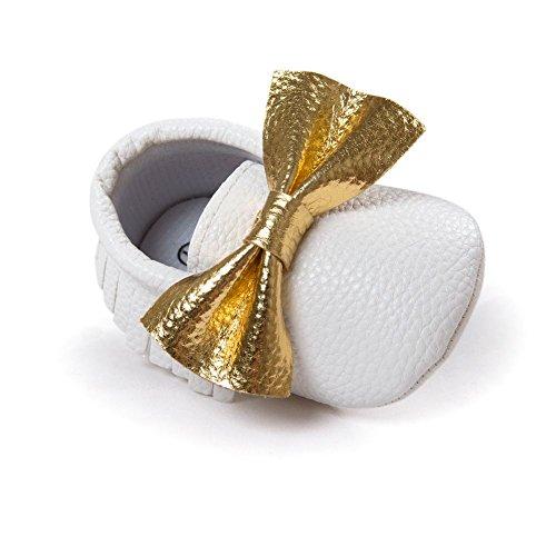 ESHOO Lovely Toddler Bebé Bowknots borla mocasín antideslizante zapatos Prewalker negro Black+Gold Talla:6-12 meses White+Gold