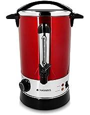 Navaris glühweinketel met temperatuurregelaar 6,8L - RVS glühweinkoker met tap - Warm water ketel - Thermostaat - Oververhittingsbeveiliging - Rood
