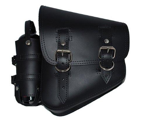 La Rosa Harley-Davidson Softail Black Leather Left Saddle Bag with Extra Fuel Gas Bottle (Left Saddlebag)
