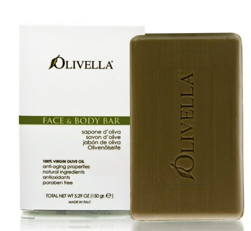 Olivella All Natural 100% Vigin Olive Oil Face & Body Soap, Original 5.29 oz (Pack of 5)