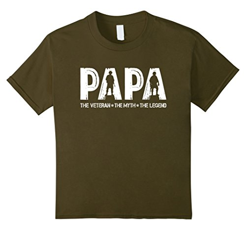 unisex-child Papa The Veteran The Myth T-shirt Best Gift Farther's Day 8 Olive