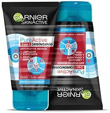 Garnier Skin Active - Pure Active, Gel Limpiador de Poros y Exfoliante Facial con Carbón 3 en 1 - Pack 2 unidades x 150 ml - Total: 300 ml
