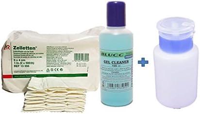 Pack Eliminar capa pegajosa de geles y esmaltes - Cleaner 100ml + Toallitas 100unidades Zelletten de celulosa + Dispensador para líquidos - Líquidos Imprescindibles - Blucc Style: Amazon.es: Belleza