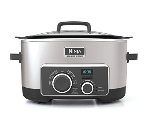 Ninja Multi-Cooker with 4-in-1 Stove Top, Oven, Steam & Slow Cooker Options, 6-Quart Nonstick Pot, and Steaming/Roasting Rack (MC950ZSS), Stainless (Certified Refurbished)