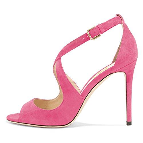 Stiletto 4 Toe Cutout 15 Peep Women Shoes Suede Fuchsia Sandals Strap FSJ US Sexy Pumps Size Cross Heels Faux 0ZFx71