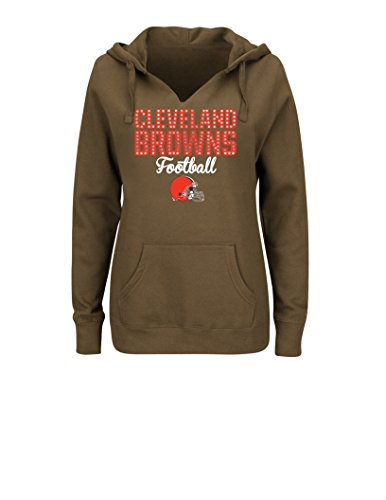 Nfl Cleveland Browns Womens Perfect Playtime Long Sleeve Split Neck Pullover Hoodie  Medium