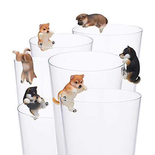 (Kitan Club Putitto Shiba Inu Dog Cup Toy - Blind Box Includes 1 of 8 Collectable Figurines - Hangs on Thin, Flat Edges - Authentic Japanese Design - Made from Durable Plastic, Premium Quality)
