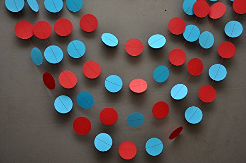 Circus garland - Aqua red garland - Party decorations - Paper garland - Birthday decorations - Nursery - Circles garland -