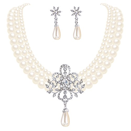 EleQueen Women's Silver-Tone Ivory Simulated Pearl Crystal Victorian Style Statement Necklace Earrings Bridal Wedding Sets ()