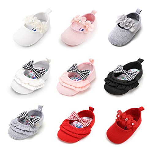 Sawimlgy US Infant Baby Girls Mary Jane Flats with Bowknot Anti-Slip Baptism Dress Shoes First Walkers Christening Gift