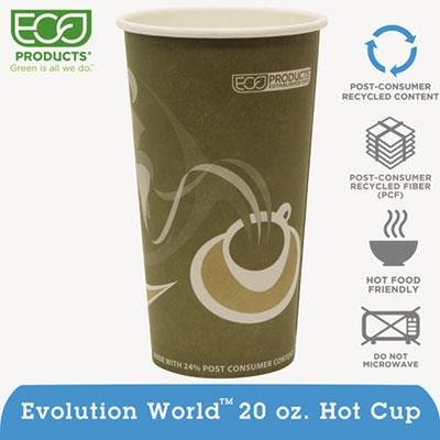 Eco-Products ECOEPBRHC20EW Evolution World PCF Hot Cups, Post-Consumer Fiber, Recycled, 20 oz, Gray (Pack of 50)