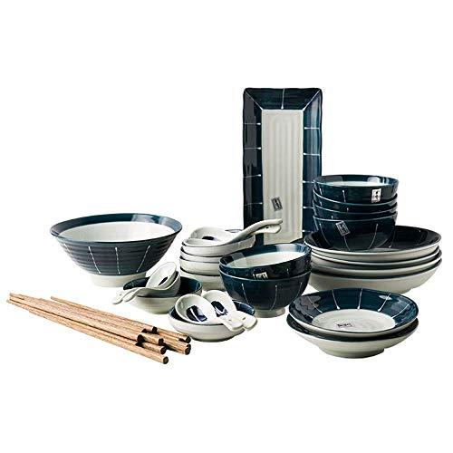 Creative Retro Ceramic Tableware Set soup bowl/rice Bowl/plate/spoon/chopsticks, 1-4 People Japanese Tableware Set (Color : Blue, Size : 32 pieces)