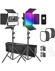 Neewer 2 Pack Luz LED 480 RGB con Control de Aplicación, Kit de Iluminación de Video para Fotografía con Soportes y Caja de Luz, 480 LED SMD CRI97/ Lux: Brillo 100% (4400K) sin difusor: 5000Lux@0.5m