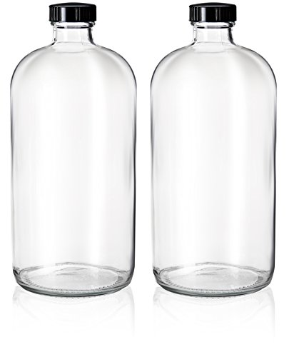 2 Pack - 32oz Boston Round Clear Glass Growler - with Phenolic Poly Cone Insert Caps - Tight Seal for Secondary Kombucha Fermentation