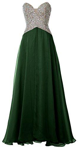 MACloth Women V Neck Chiffon Lace Long Prom Dress Formal Party Evening Ball Gown (EU40, Marfil)