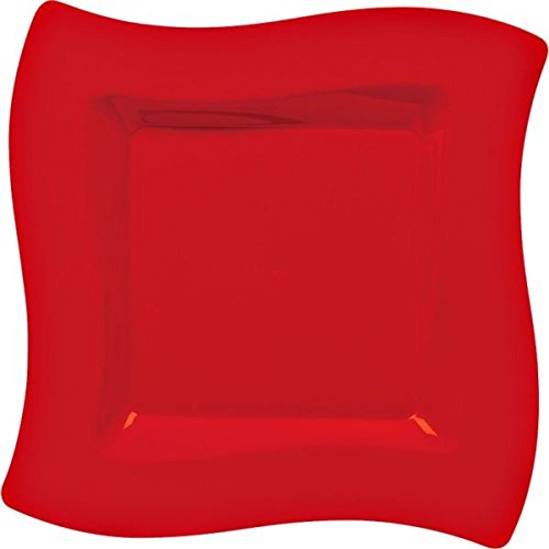 (Apple Red Party Wavy Plates, 10