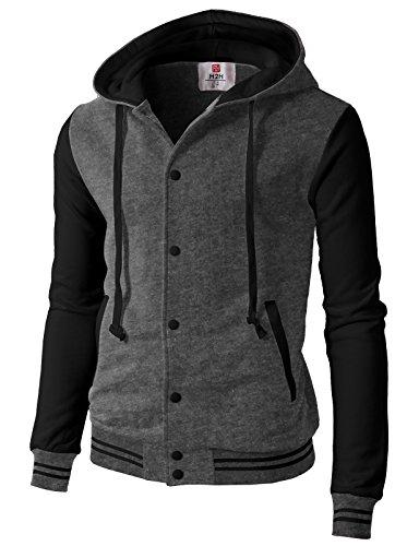 H2H Mens Fashion Casual Slim Fit Hoodies Cotton Varsity Baseball Bomber Jacket CHARCOALBLACK US 3XL/Asia 4XL (CMOJA099)
