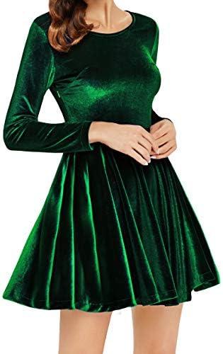 Annigo Velvet Dress For Women Long Sleeve Pleated New Years Eve Dress Dark Green Medium Buy Online At Best Price In Uae Amazon Ae