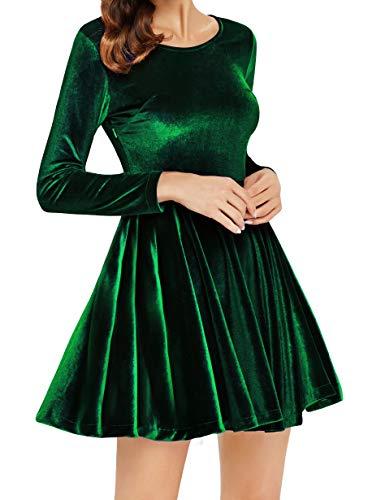 (Annigo Velvet Dress for Women Long Sleeve Pleated New Years Eve Dress,Dark Green,Small)