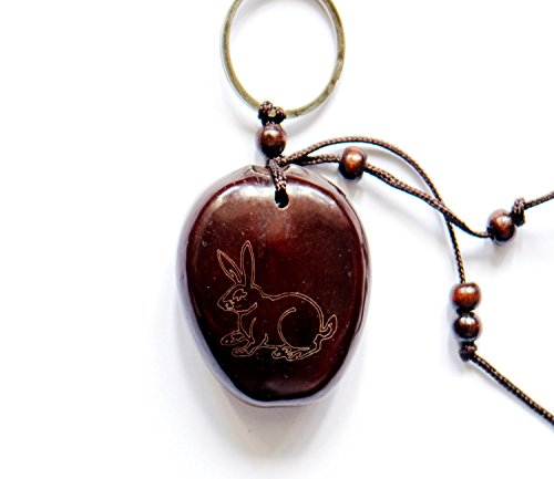 Handmade Chinese Zodiac Lohan Beans amulets Lucky charm Stone Bring Good luck, Money and Love in Your Life, Crafted at Thailand Temple (B) (Rabbit) (Charm Rabbit Zodiac)