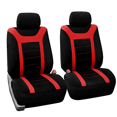 (FH Group FB070RED102 Red Front Airbag Ready Sport Bucket Seat Cover, Set of 2)