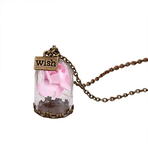 Light Glass Pendant Childrens (Long Sweater Chain Pendant Necklace Cuekondy Antique Bronze Forever Rose Flower Glass Wish Bottle Statement Jewelry for Women Girls (Light pink))