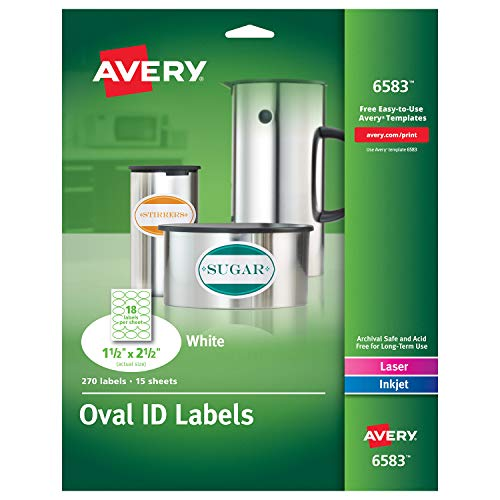 Avery White Oval Labels, White, Permanent, Pack of 270 (6583) ()