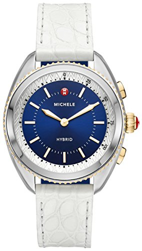 41OqHt6Sz3L - Michele Women's Hybrid Smartwatch- Two-Tone Navy Dial White Alligator and Navy Silicone Hybrid Smartwatch MWWT32A00008