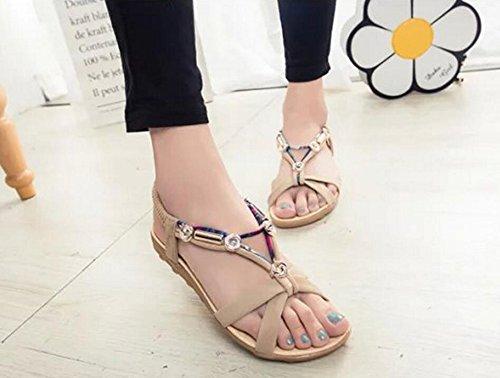 Sandalen Damen Sommer Mode Bohemien Wohnungen Sandalen Strand Schuhe Beige