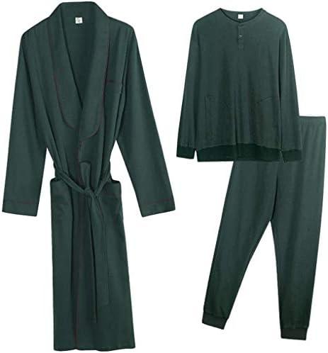 男性用パジャマ、シルクパジャマのために家族のパジャマ、メンズコットンローブパジャマパンツ長袖ルーズボタン首輪バスローブロングパジャマパンツホームサービス3ピーススーツ (Color : B, Size : XXXL)