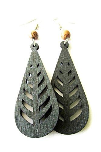 Wood Palm Earrings (Long Black Teardrop Wooden Hippie Boho Earrings with Palm Wood Beads)