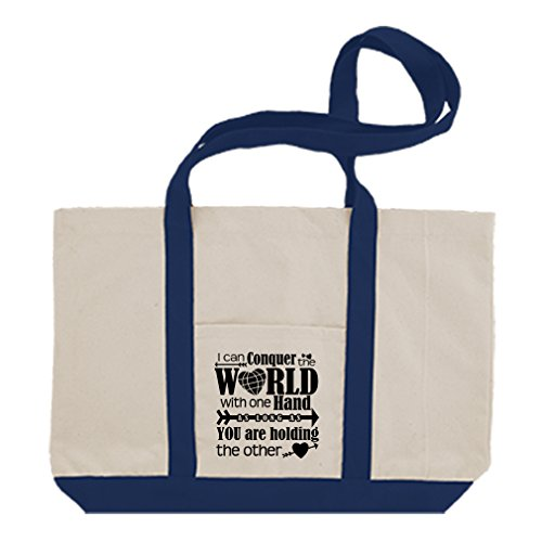 Cotton Canvas Boat Bag Can Conquer World Long You Holding Me Home Style In Print Royal Blue
