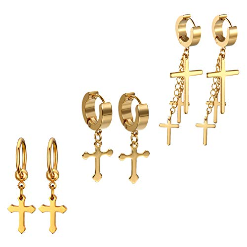 (Golden George 3 Pcs Unisex Cross Stud Earring Set Dangle Hinged Hoop Earrings Gold Stainless Steel Punk Hip-hop Ear Piercing Earrings for Women Men, Hypoallergenic Body Jewelry)