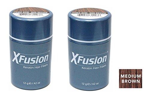 Xfusion Keratin Hair Fibers,Two Pack Value 2 x 12 gr/0.42 oz MEDIUM BROWN by XFusion