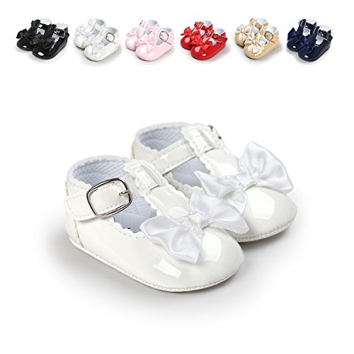 Sabe Infant Baby Girls Soft Sole Prewalker Crib Mary Jane Shoes Princess Light Shoes (11cm(0-6 month), A-white) Soft Sole Crib Shoes