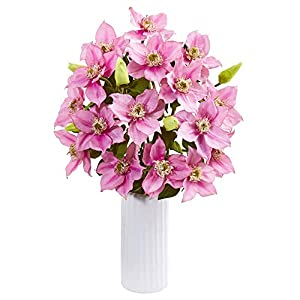 """Nearly Natural 1905-PK 21"""" Anemone Artificial White Vase Silk Arrangements Pink 87"""