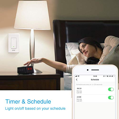 Wifi Smart Light Switch, Gosund in-Wall Smart Switch that Compatible with  Alexa, Google Home and IFTTT, Single-Pole, No Hub required