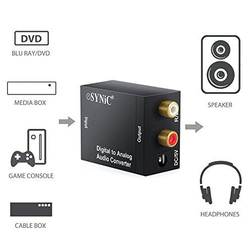 eSynic DAC Digital Óptica Coaxial Toslink a Analógico Estéreo Izquierda/Derecha RCA Adaptador de Audio para PS3 Xbox 360 HDTV BLU Ray DVD Sky HD TV con ...