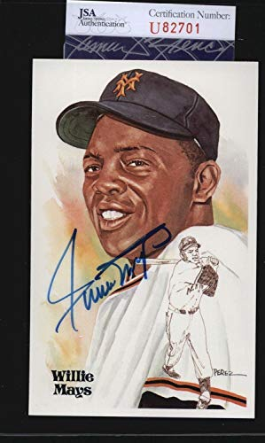 Willie Mays Giants Hof Autographed Signed Autograph Perez Steele Postcard Sports Memorabilia JSA Certificate of Authentic Memorabiliaity Included