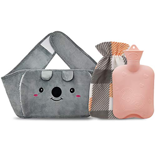 Portable Hot Water Bottle, Rubber Warm Water Bag with Soft Plush Waist Cover, Good for Pain Relief from Arthritis, Headaches, Hot and Cold Therapy