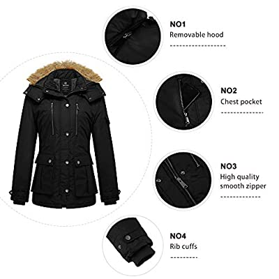 Wantdo Women's Thicken Parka Coat Winter Warm Puffer Jacket with Removable Hood: Clothing