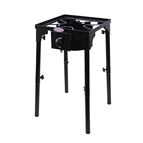 GAS ONE Portable Propane 100,000-BTU High-Pressure Single-Burner Outdoor Camp Stove with Adjustable Legs and CSA Listed 0-20PSI High Pressure Regulator and Hose Perfect for (Outdoor Cooking)