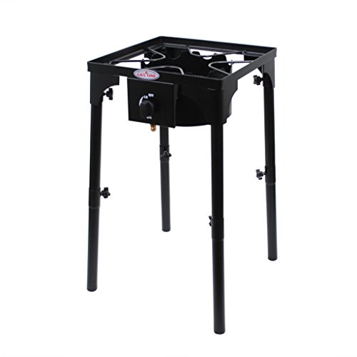 GAS ONE Portable Propane 100,000-BTU High-Pressure Single-Burner Outdoor Camp Stove with Adjustable Legs and CSA Listed 0-20PSI High Pressure Regulator and Hose Perfect for Brewing (Gas Free Stove Iron Cast)