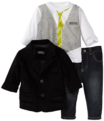 Kenneth Cole Baby Boys' Blazer with Long Sleeve Tee and Jean, Black, 12 Months