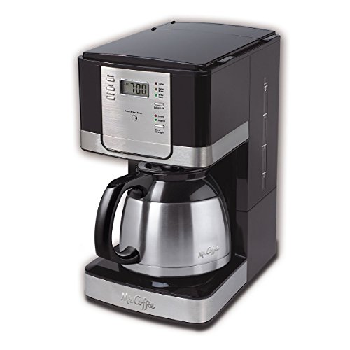 Mr. Coffee Advanced Brew 8-Cup Programmable Coffee Maker with Thermal Carafe, Black/Chrome